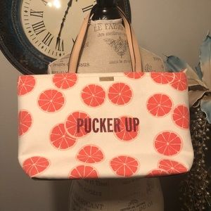 Kate Spade Grapefruits Canvas/ Leather Tote